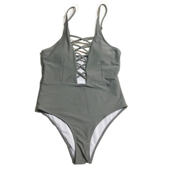 eda22a12c57 Cupshe Swim | Gray Lace Up One Piece | Poshmark